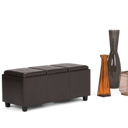 Simpli Home Avalon Extra Large Storage Ottoman With 3 Serving Trays
