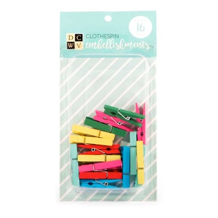 American Crafts DCWV Clothespin Embellishments - Scrapbooking Accessory and Decoration - Assorted Colors, 16 (Scrapbooking Accessory)