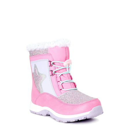 Wonder Nation Girls Lace-up Star Insulated Snow Boots