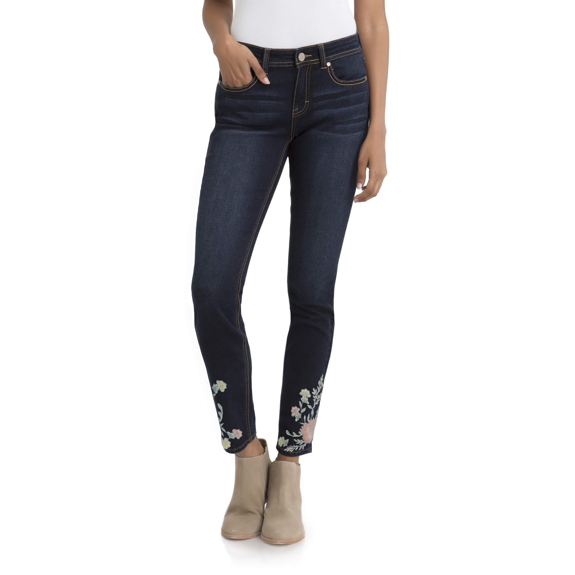 Women's High Rise Ankle Jean With Embroidery by Jordache