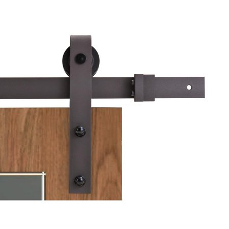 CALHOME 79 in. Classic Bent Strap Barn Style Sliding Door Track and Hardware -