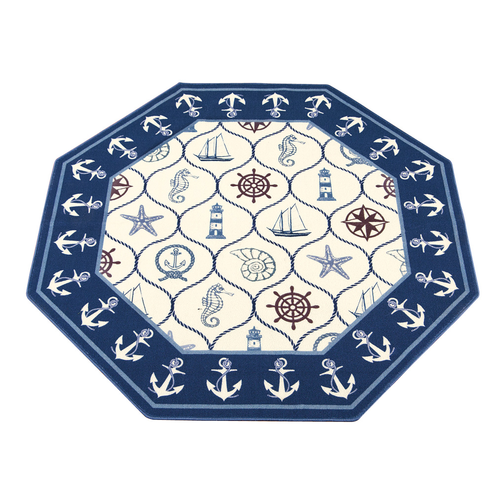"Navy Blue Nautical Lattice Theme Accent Rug, Home Décor, 54"" X 54"" by Collections Etc"