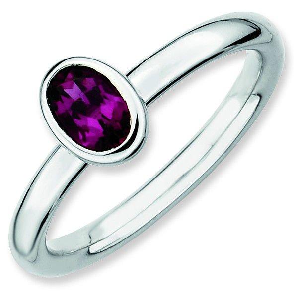 Rhodolite Garnet Elegant Oval Sterling Silver Stackable Ring