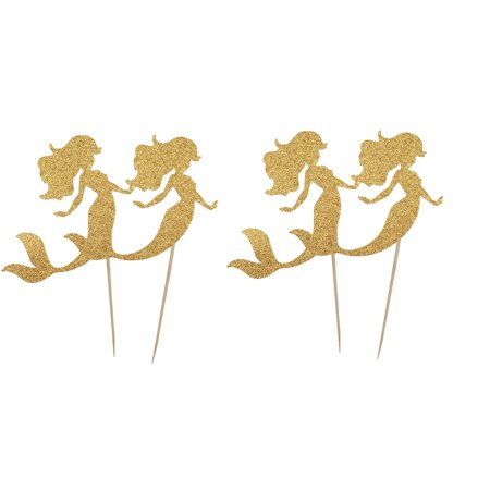 Household Cupcake Mermaid Shaped DIY Glittery Toothpicks Pick Topper 4 Pcs