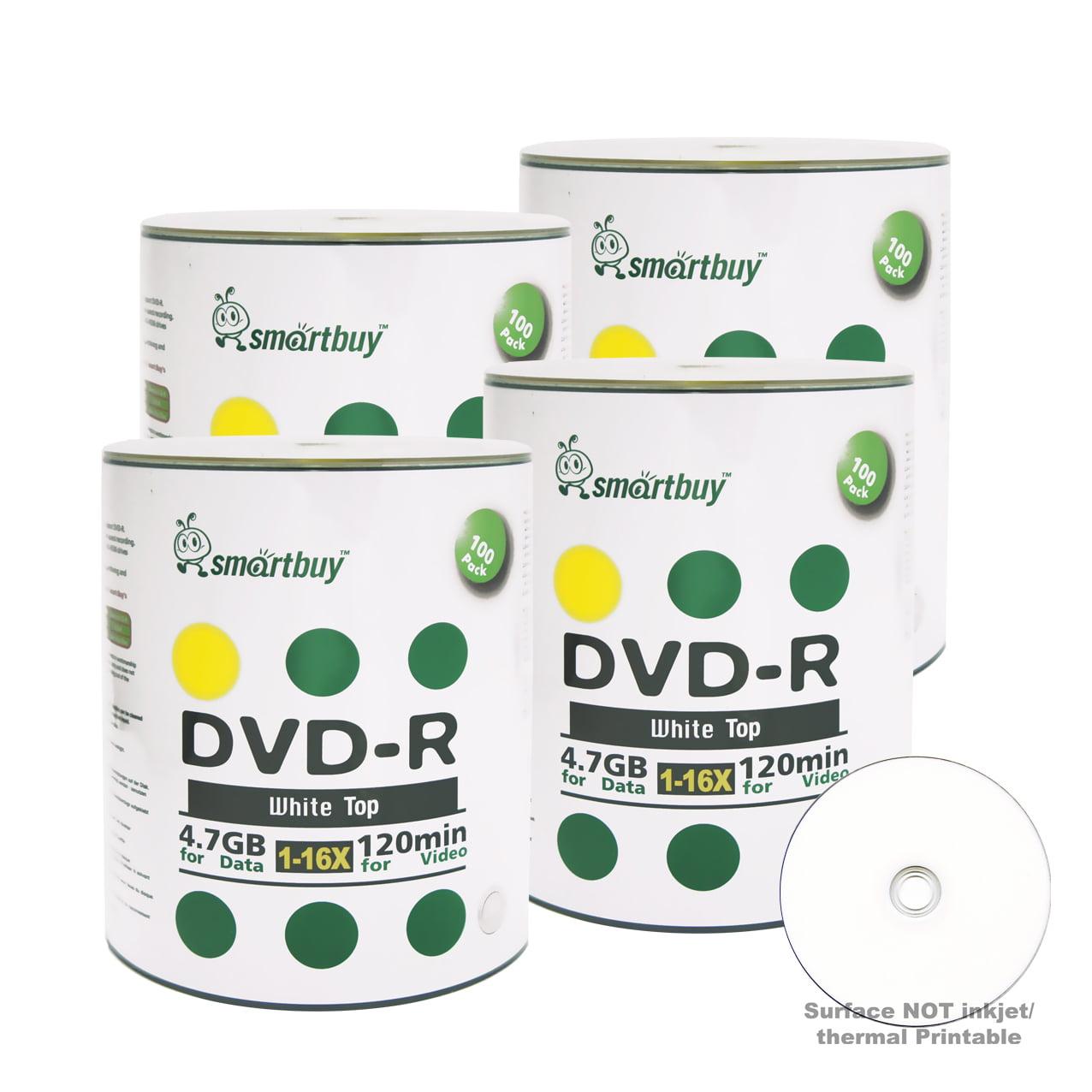 400 Pack Smartbuy 16X DVD-R 4.7GB 120Min White Top (Non-Printable) Data Blank Media Recordable Disc