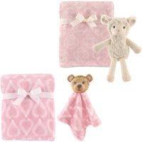 Hudson Baby Girls' Plush Blanket (2-Pack) with Plush Toy and Security Blanket, Choose Your Color