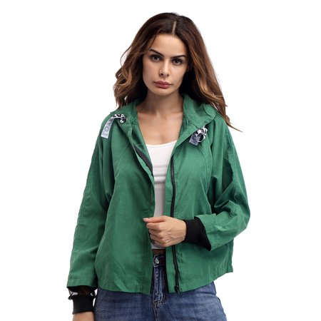 Clothes for Women on Clearance, Long Sleeve Hoodies Bomber Jackets for Women, Casual Trench Hooded Outwear for Women, Green / Yellow Drawstring Baseball Coat for Ladies, S-L (Pretty Green Velvet Pea Coat)