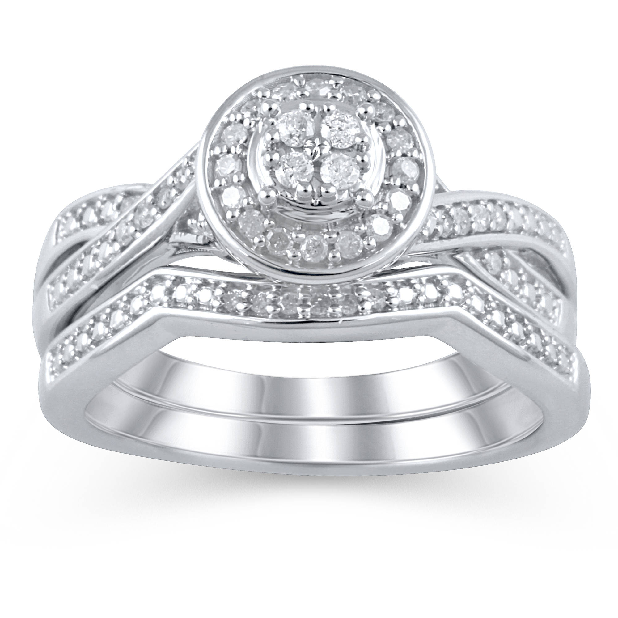 Forever Bride 1 5 Carat T.W. Diamond Sterling Silver Bridal Set by ELEGANT COLLECTION