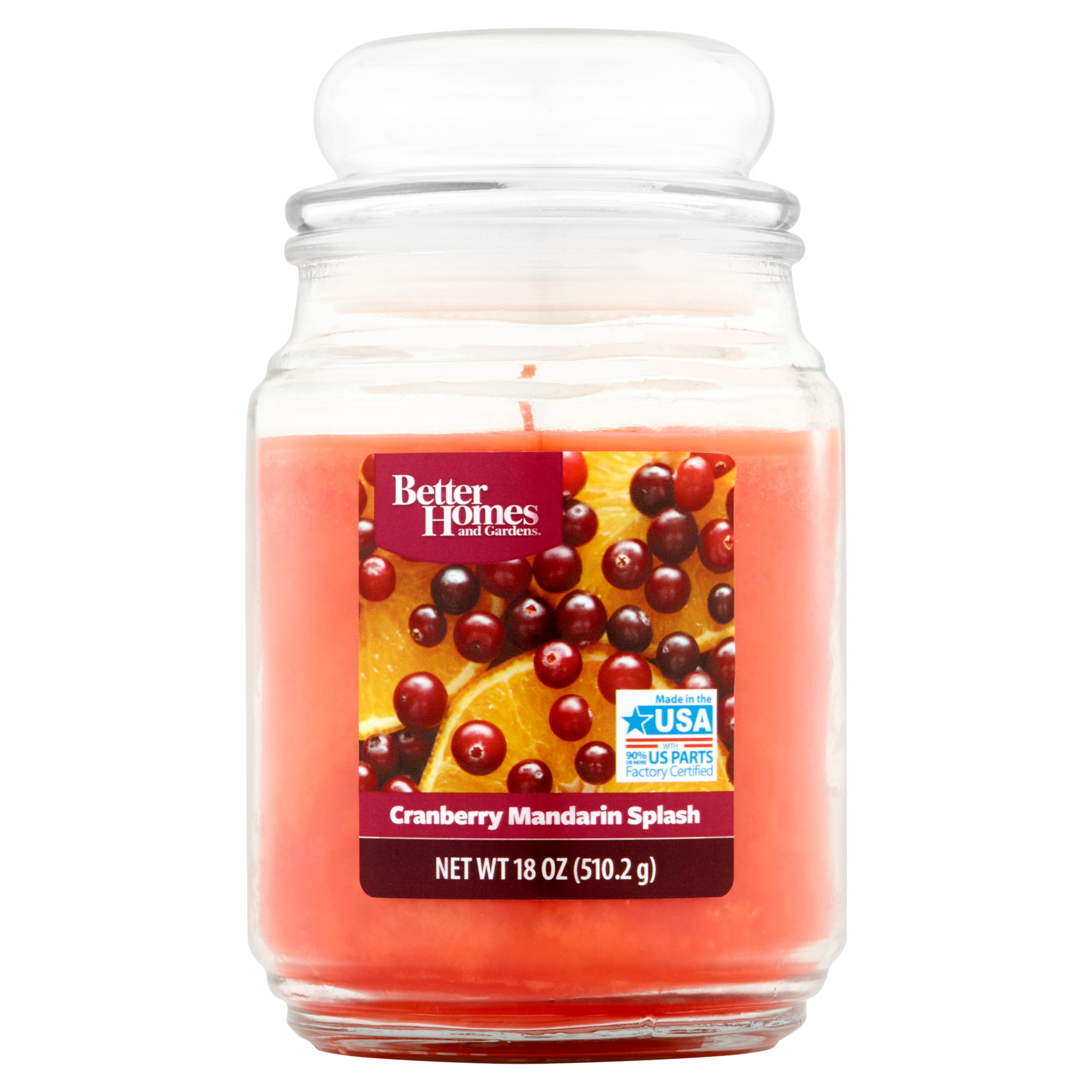 Better Homes and Gardens Cranberry Mandarin Splash Scented Jar Candle, 18 oz