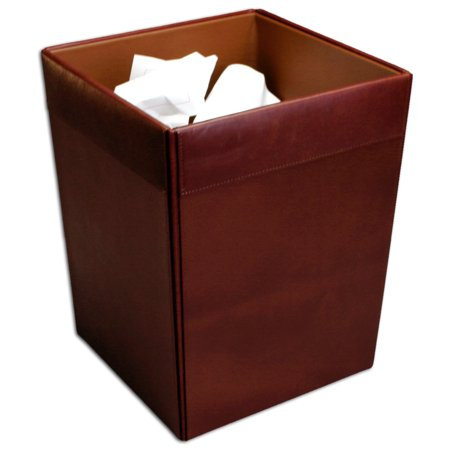 Mocha Leather Square Waste Basket