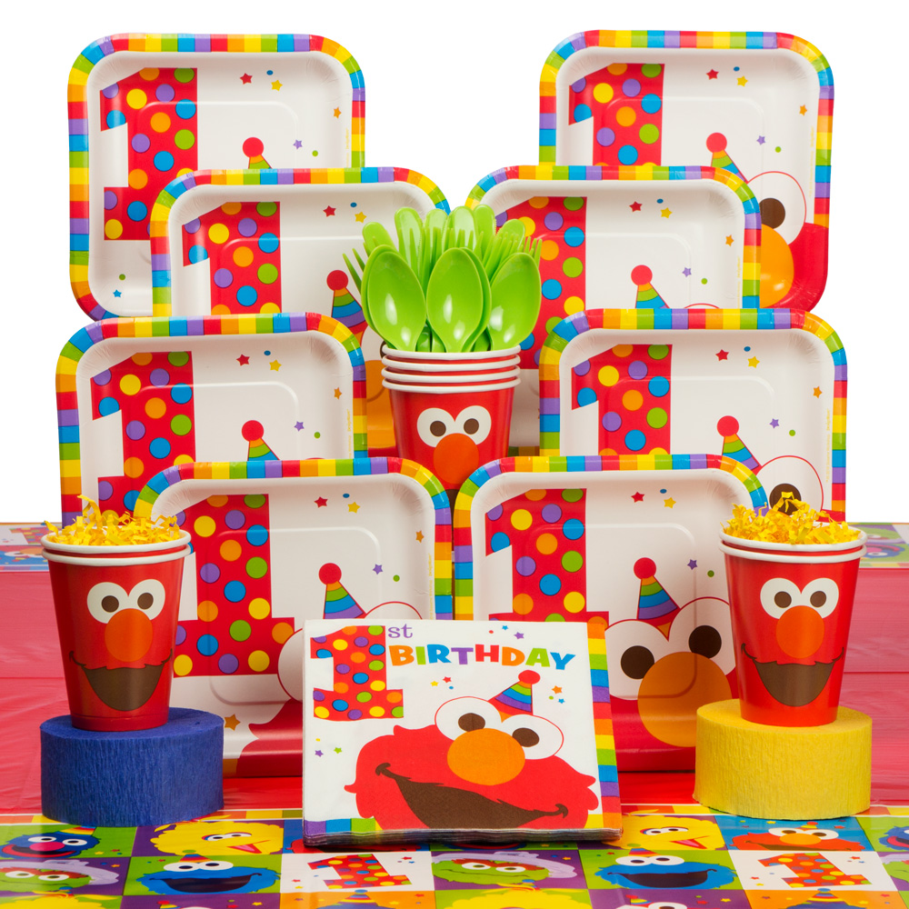Elmo's 1st Birthday Deluxe kit Serves 16 Guests - Party Supplies