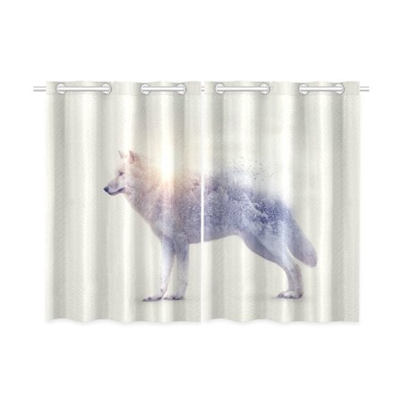 MKHERT Arctic Wolf And Forest Window Curtains Kitchen Curtain Room Bedroom Drapes Curtains 26x39 inch, 2 Piece
