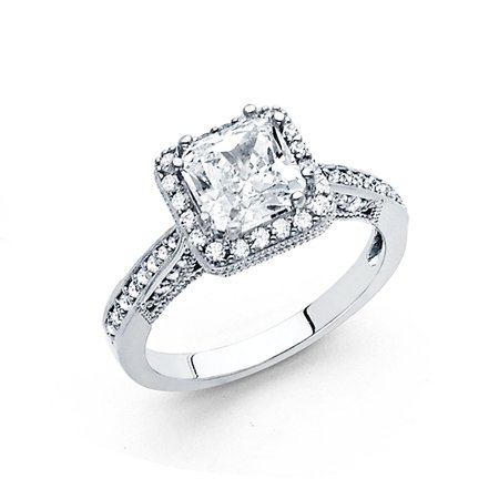 14K Solid White Gold Cubic Zirconia Princess Cut Halo Wedding Engagement Ring with Side Stones, Size