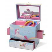 JewelKeeper Musical Jewelry Box with 3 Drawers, Rainbow Unicorn Design, The Unicorn Tune