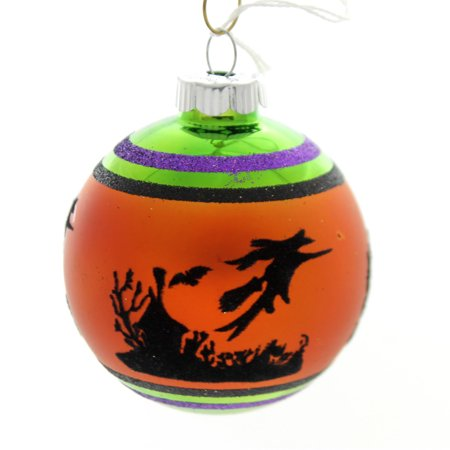 Shiny Brite HALLOWEEN SIGNATURE FLOCKED.. Glass Ornament Ball 4026976S E](Small Glass Halloween Ornaments)