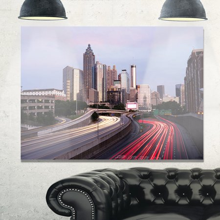 DESIGN ART Atlanta Georgia Rush Hour Traffic at Dusk - Cityscape Glossy Metal Wall Art