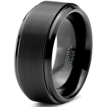 Tungsten Wedding Band Ring 10mm for Men Women Comfort Fit Black Step Beveled Edge Polished Brushed Lifetime Guarantee 10mm Tungsten Black Jewelry