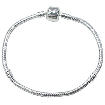 Leegoal Pandora Snake Chain Bead Barrel Clasp Bracelet (Silver,19cm)