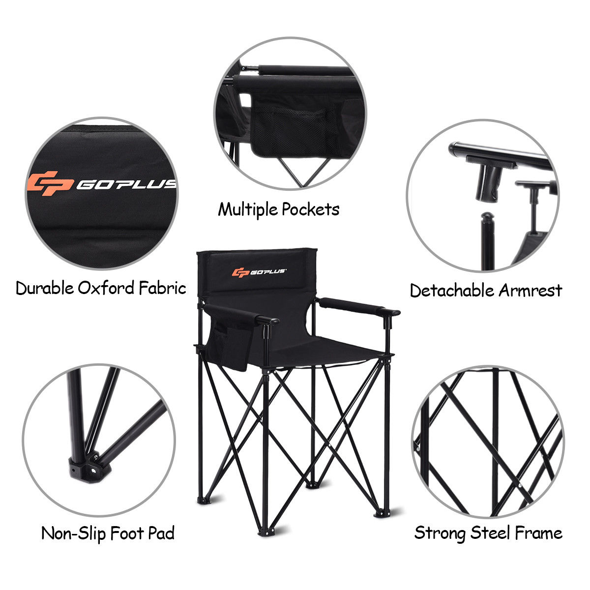 """Portable 38"""" Oversized High Outdoor Beach Chair Camping Fishing Folding Chair - image 1 de 10"""