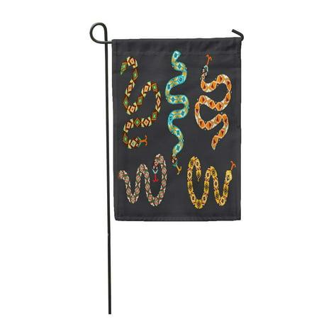 KDAGR Brown of Snakes Tribal Beaded Applique Boho Patch Pattern Cobra Garden Flag Decorative Flag House Banner 12x18 inch