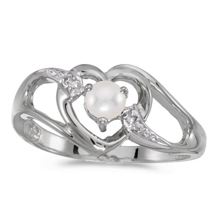 10k Cultured Pearl Ring (10k White Gold Freshwater Cultured Pearl And Diamond Heart)