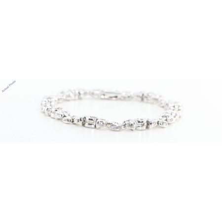 - 14k White Gold Round Cut Bezel Setting Fashionable Classic Diamond Set Bracelet (0.8 Ct, G Color, SI1 Clarity)