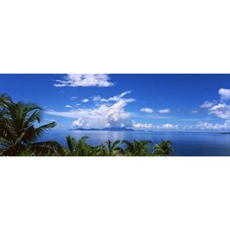 Indian ocean with palm trees towards Mahe Island looking from North Island Seychelles Canvas Art - Panoramic Images (18 x