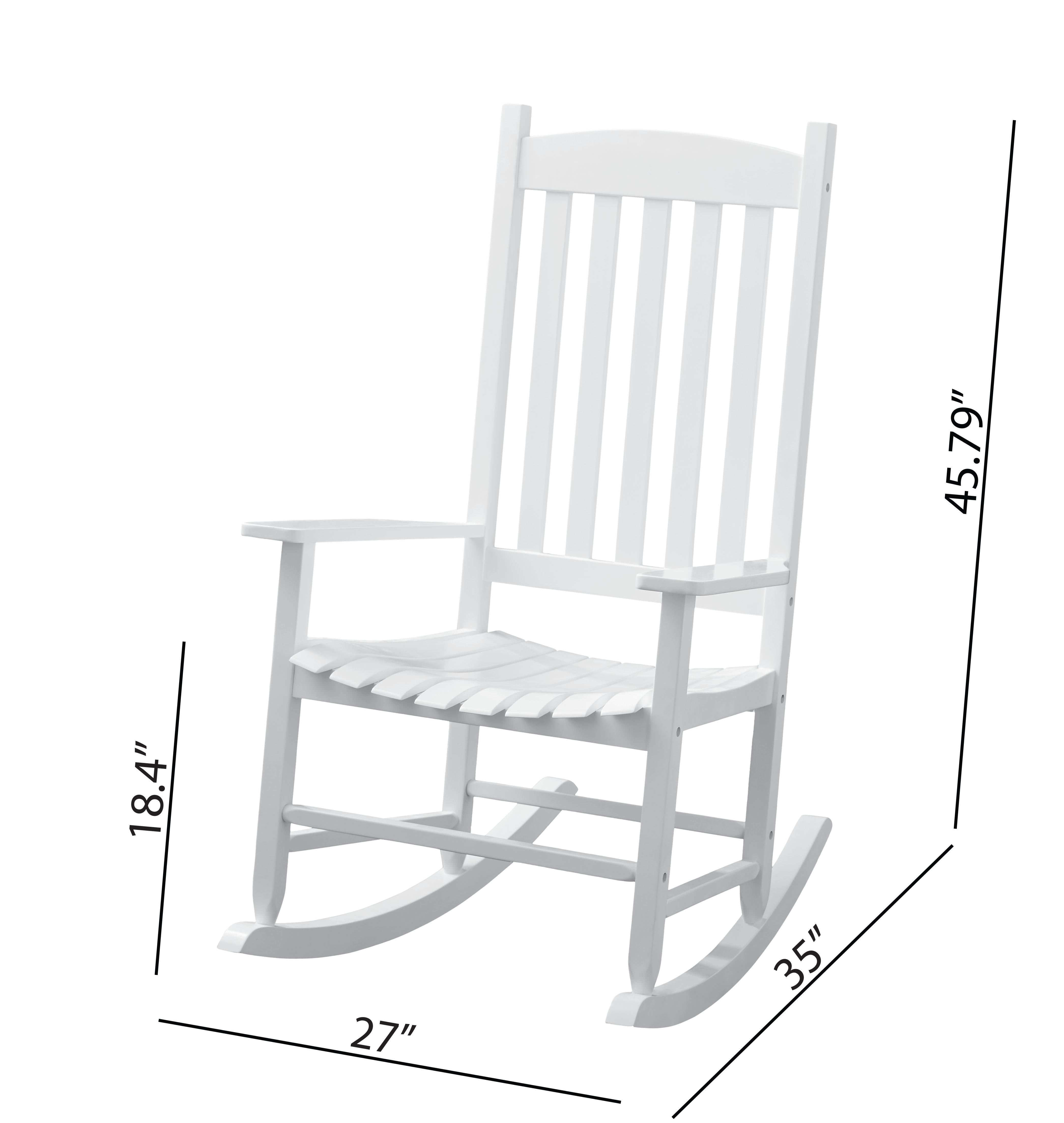 Mainstays Outdoor Wood Slat Rocking Chair White Walmart Com Walmart Com