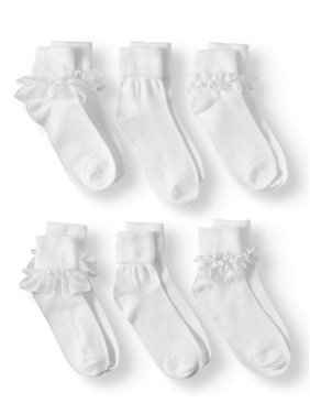 Wonder Nation Girls Socks, 6 Pack Lace Dress (Little Girls & Big Girls)
