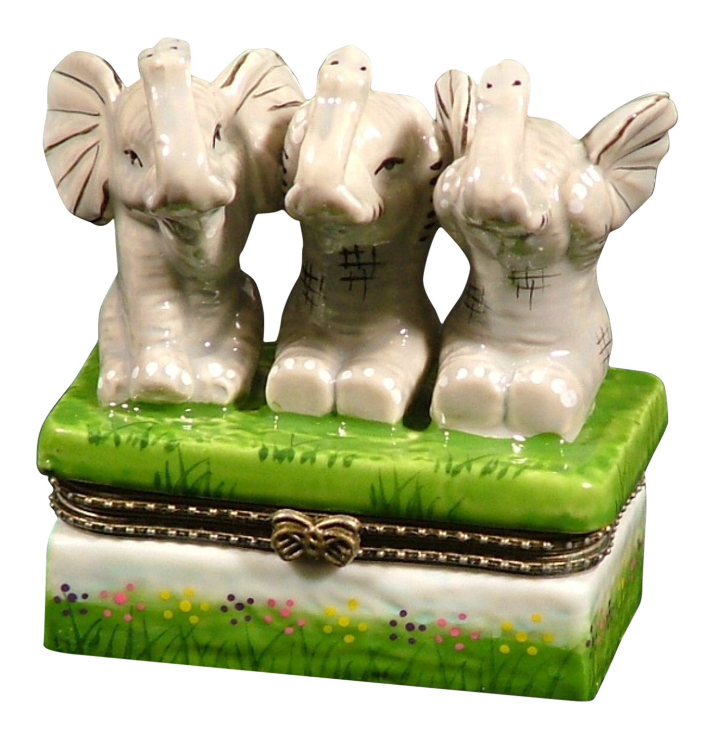 Elephant See No Evil Hear No Speak Trinket Box phb