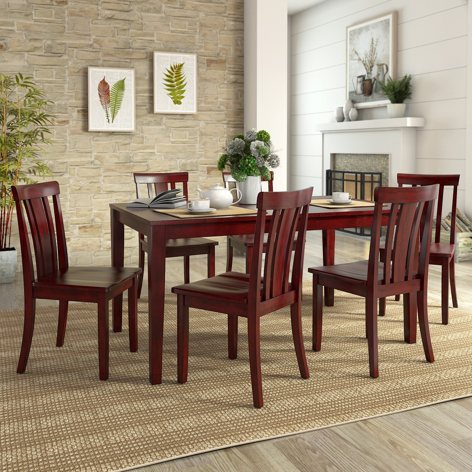 Lexington Large Dining Set with 6 Slat Back Chairs
