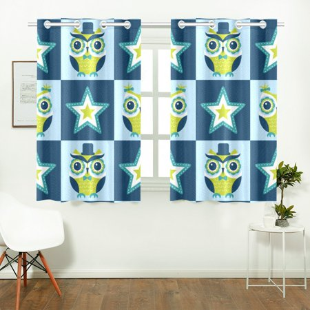 YUSDECOR Colorful Owl And Stars Window Curtains Kitchen Curtain Room Bedroom Drapes Curtains 26x39 inch, 2 Piece - image 2 of 3