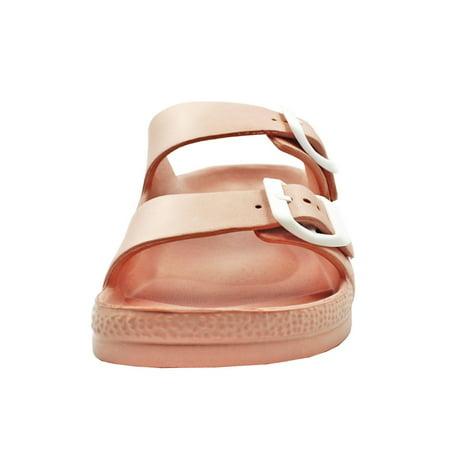Women's Lightweight Comfort Soft Slides EVA Adjustable Double Buckle Flat Sandals