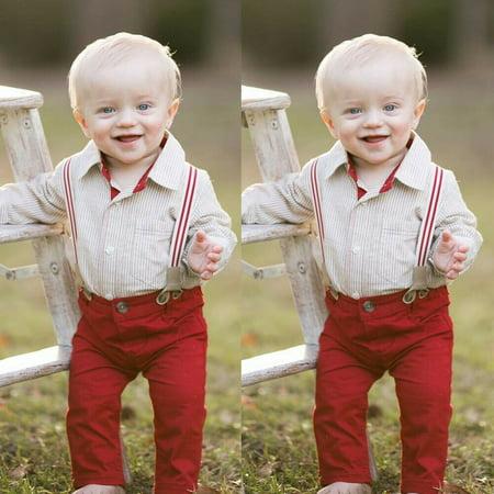 2Pcs Infant Baby Boys Clothes Tops Shirt Bib Pants Gentleman Xmas Outfit Set ()