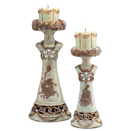 "Ore International Inc. 11.75/15.5"" Vintage Rose Candle Holder 2 in 1 Set"