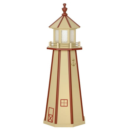 3 Foot Beige & Red Wooden Lighthouse w/ Standard Electric Light - Amish - Amish Lighthouse