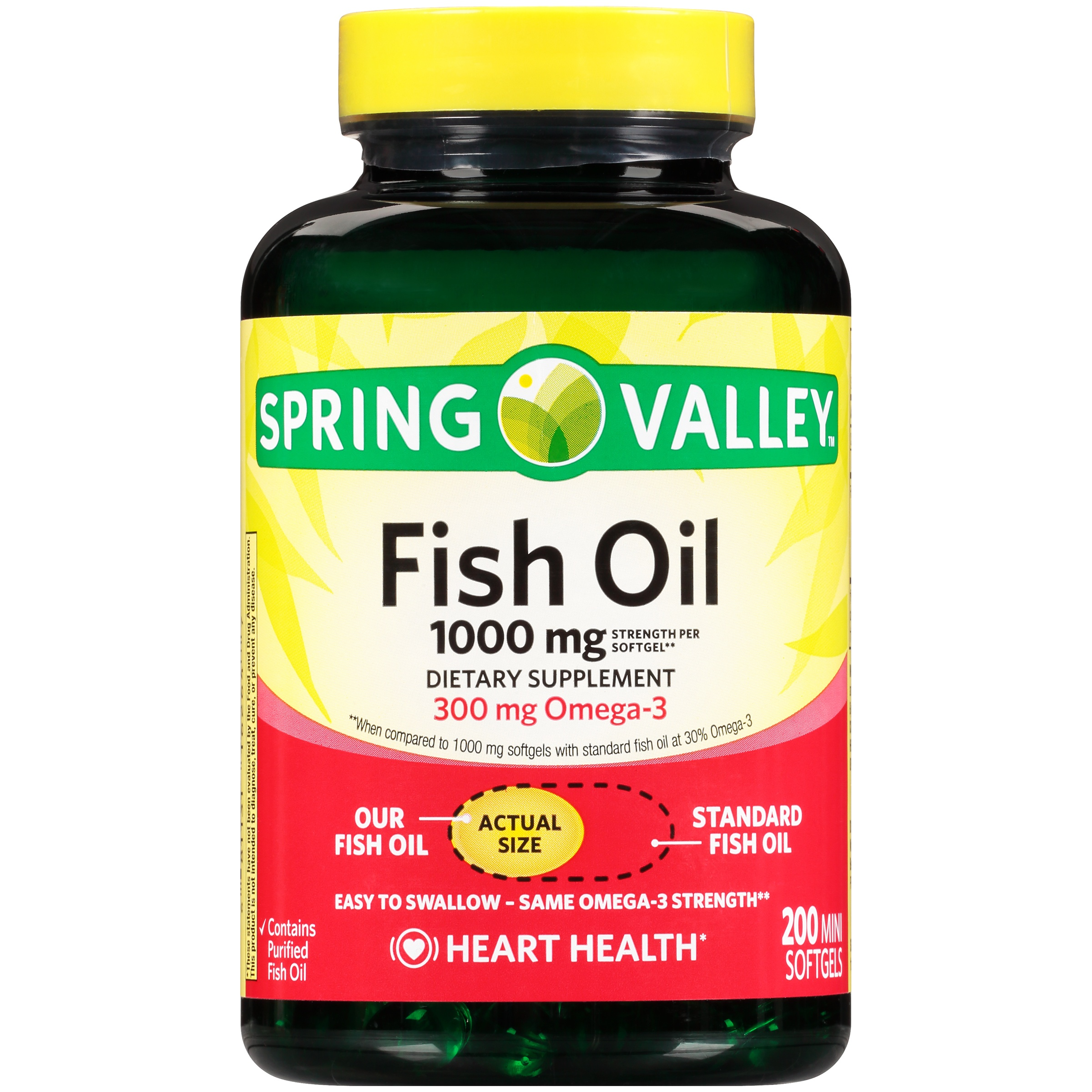 Spring Valley Fish Oil Mini Softgels, 1000 mg, 200 Ct