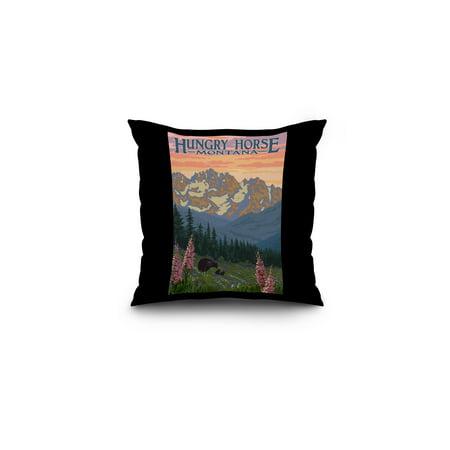 Hungry Horse  Montana   Bear Family   Spring Flowers   Lantern Press Artwork  16X16 Spun Polyester Pillow  Black Border