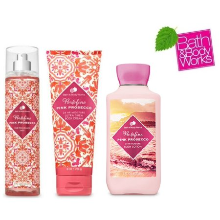 Bath and Body Works Portofino Pink Prosecco Gift Set - Fine Fragrance Mist - Body lotion and Body Cream - Full