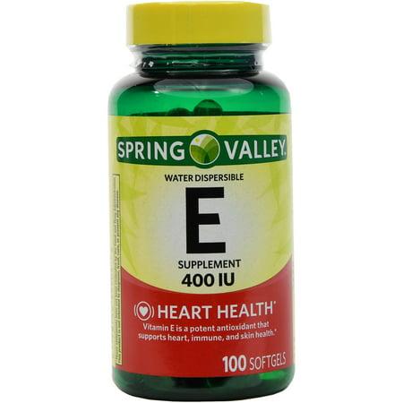 Spring Valley La vitamine E 400 UI eau soluble Gélules Complément alimentaire 100 Ct