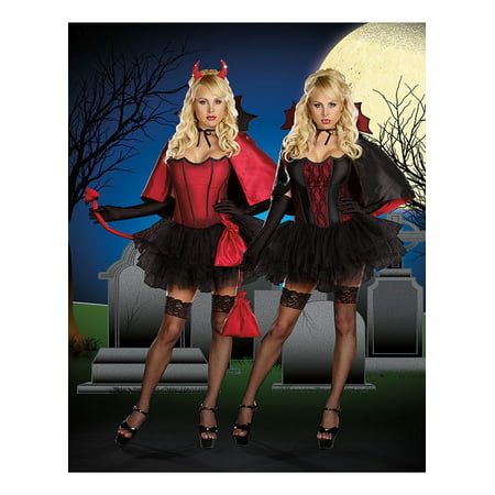 Devils Night with Bite Reversible Women's Adult Halloween Costume - Lady Of The Night Costume
