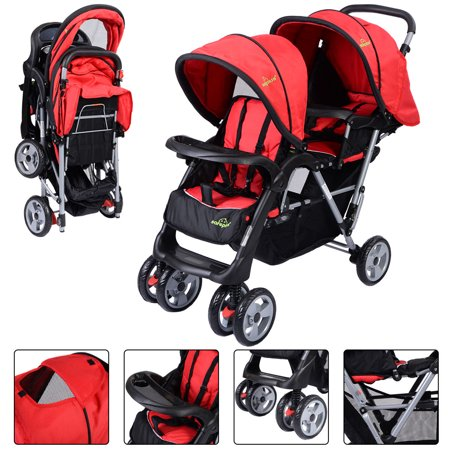 Positioning Push Chair - Foldable Twin Baby Double Stroller Kids Jogger Travel Infant Pushchair Red