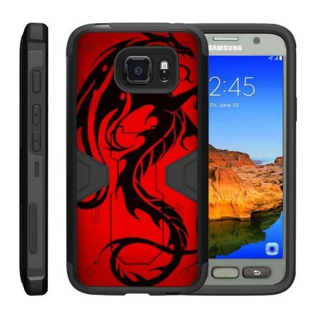 TurtleArmor ® | For Samsung Galaxy S7 Active [Shockproof Case] Protective Armor Hard Impact Case Kickstand Holster Belt Clip - Red (Best Galaxy Eyes Photon Dragon Deck)