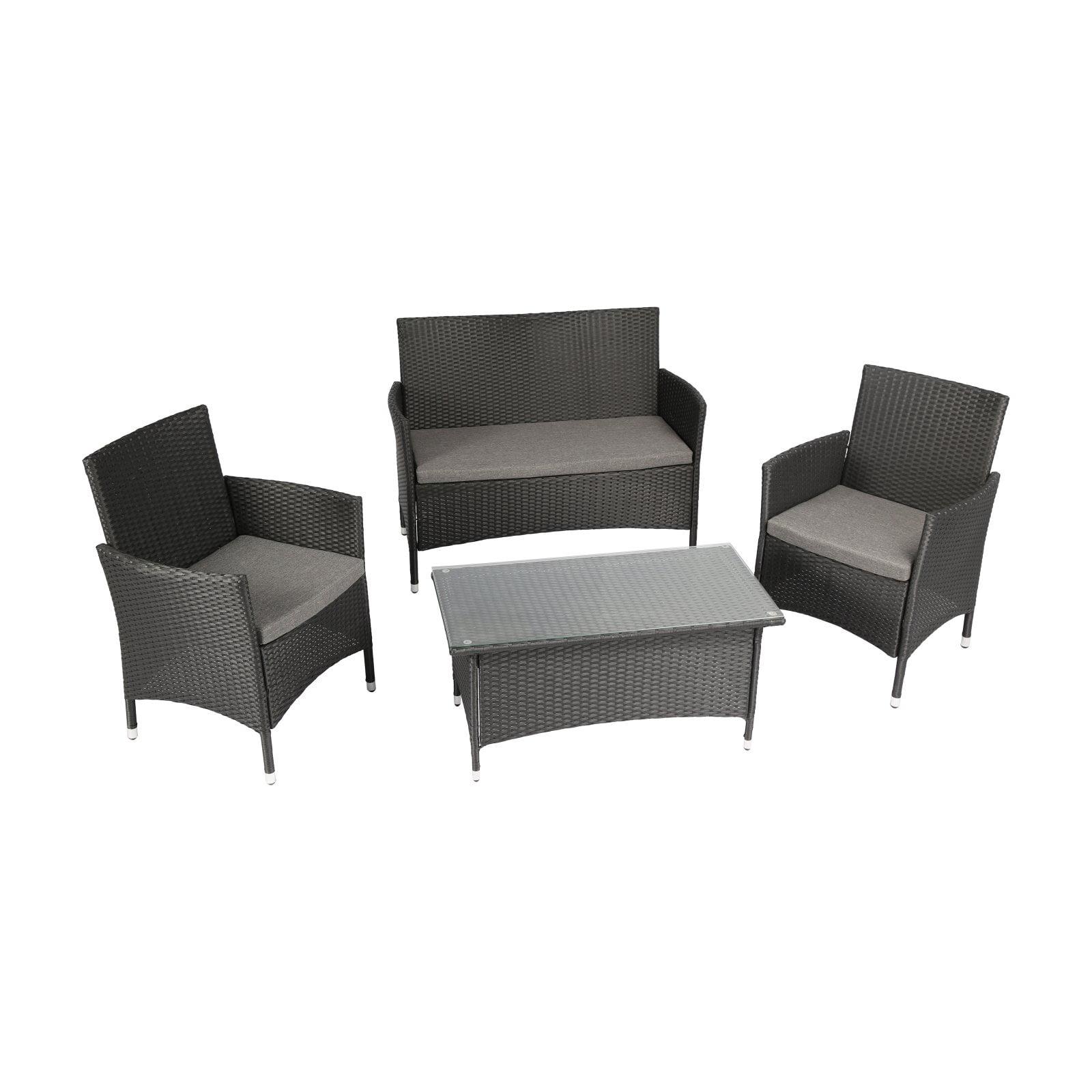 3f653ac78725 Baner Garden Outdoor Furniture Complete Patio Cushion PE Wicker Rattan  Garden Set, Brown, 4-Pieces - Walmart.com