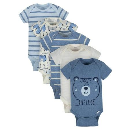 Organic Short Sleeve Variety Onesies Bodysuits, 5pk (Baby Boys)