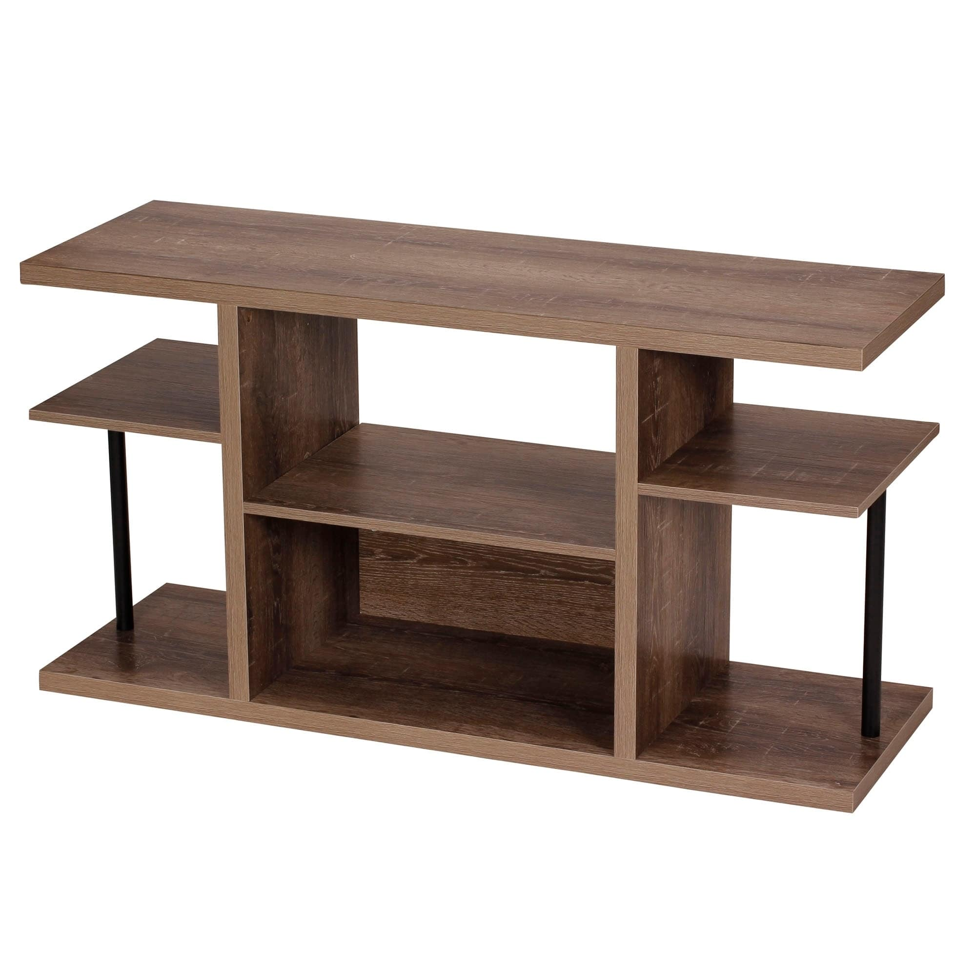 Household Essentials Ashwood Media Center 6-Shelf Storage Console