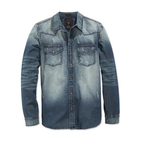 4c8c0e418b3 GUESS - GUESS Mens Western Denim Button Up Shirt - Walmart.com