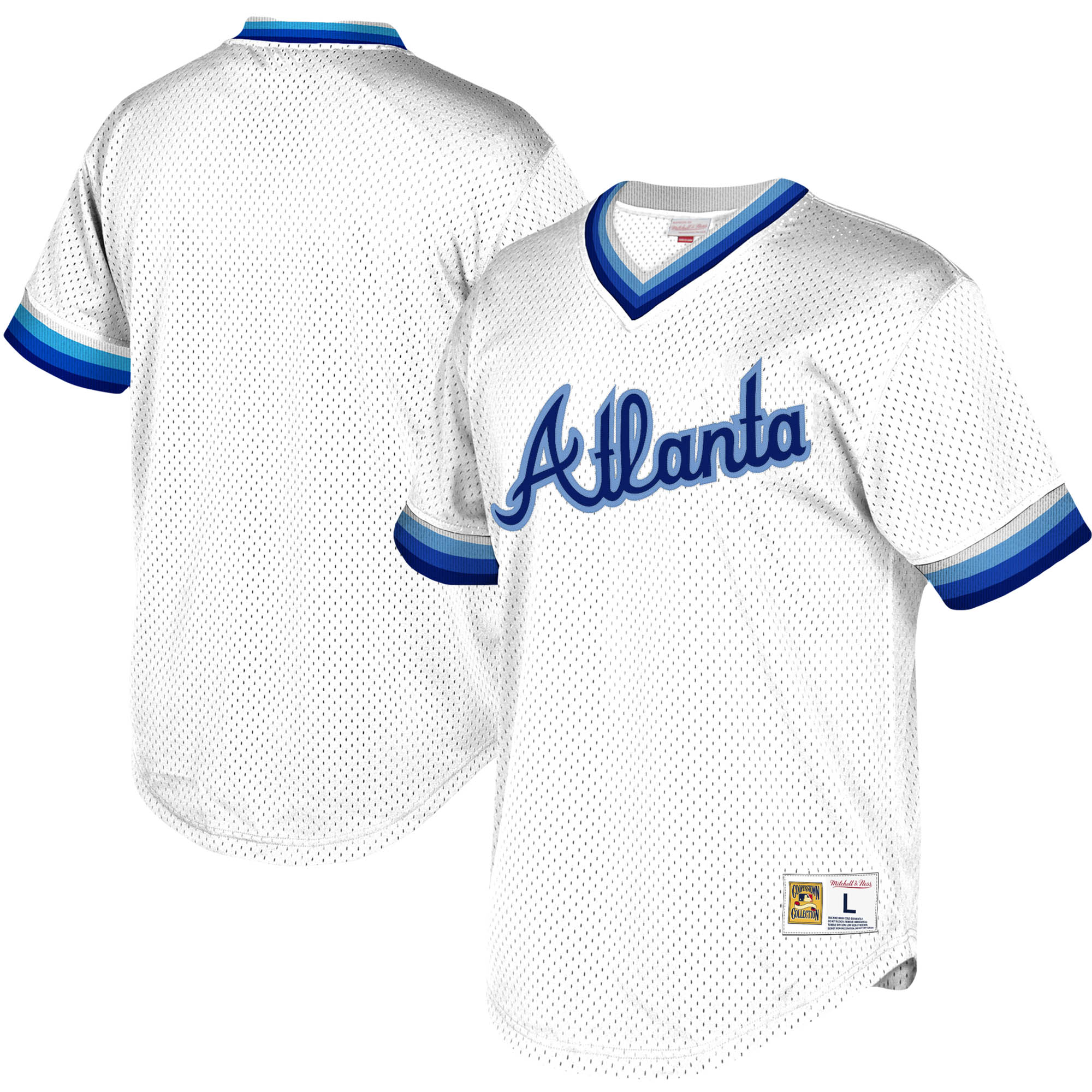 Atlanta Braves Mitchell & Ness Youth Cooperstown Collection Mesh Wordmark V-Neck Jersey - White