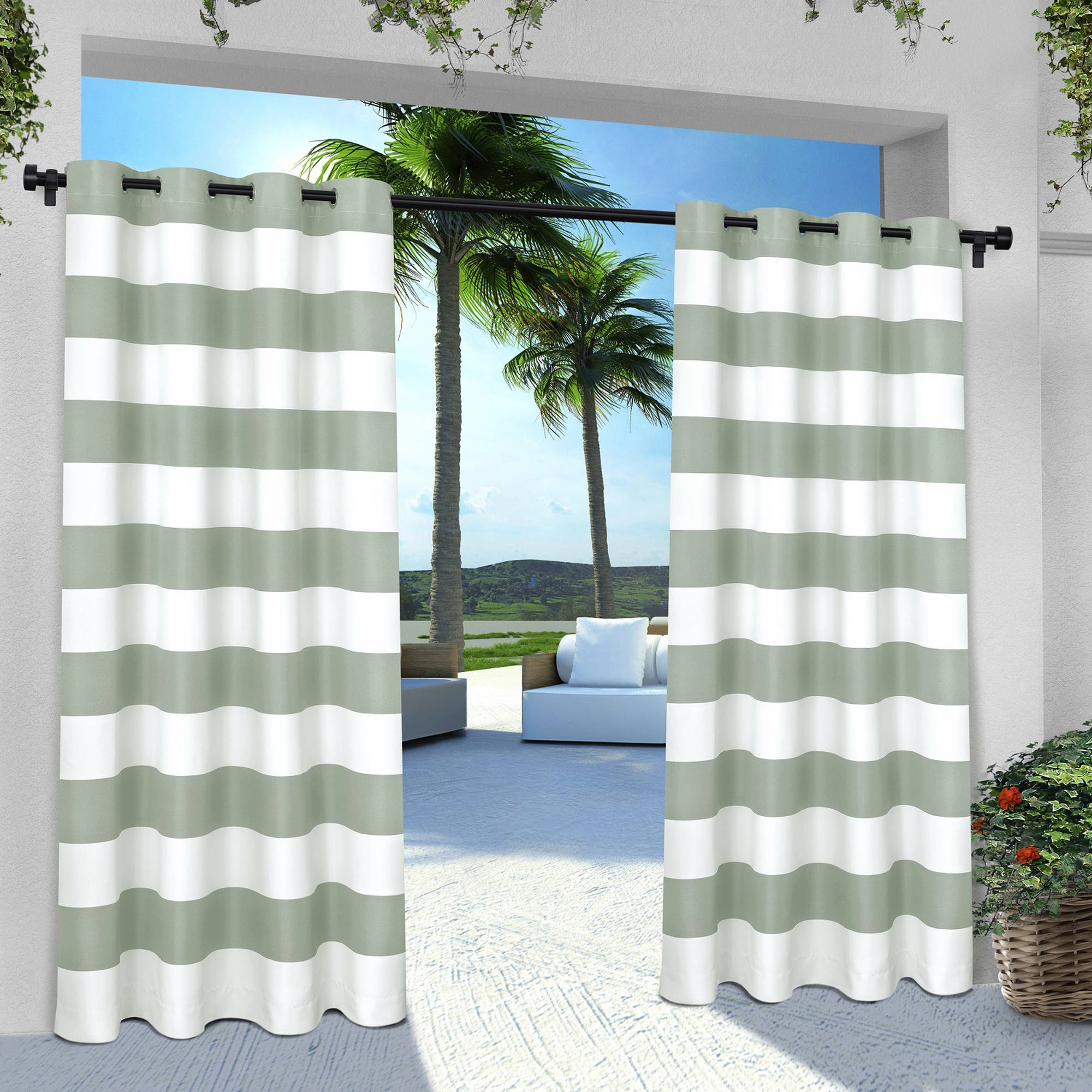 Exclusive Home Curtains 2 Pack Indoor Outdoor Stripe Cabana Grommet Top Curtain Panels