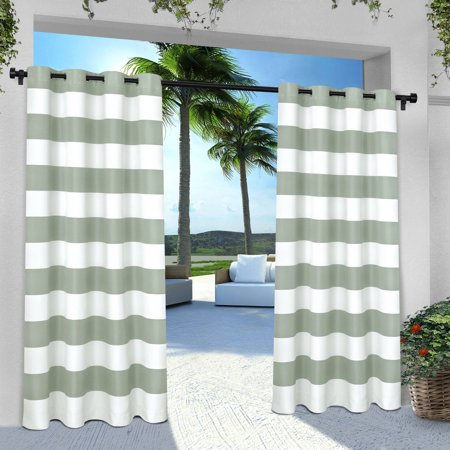 (Exclusive Home Indoor/Outdoor Stripe Cabana Window Curtain Panel Pair with Grommet Top)